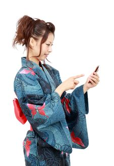 Free Japanese Woman In Clothes Of Kimono Stock Images - 21159034