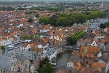 Panoramic View Of Bruges, Belgium Stock Photo