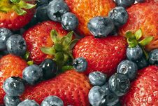 Free Garden Strawberry And Blueberries Royalty Free Stock Photos - 21159568