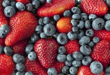 Free Garden Strawberry And Blueberries Royalty Free Stock Photo - 21159605