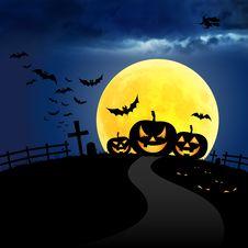 Pumpkin Halloween In Night Royalty Free Stock Photos