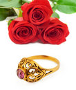 Free Roses And Golden Ring Stock Images - 21160104