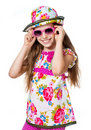Free Cute Girl With Pink Sunglasses Royalty Free Stock Photo - 21163695