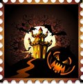 Free Halloween Pumpkin And Castle Stamp Background Stock Photo - 21163820