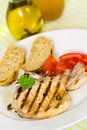 Free Pork Chop, Grilled ,with Salad,bun And Tomato Stock Photo - 21169500