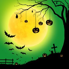 Halloween Tree, And Pumpkins, Bats Royalty Free Stock Images