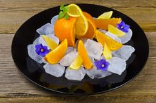 Citrus Fruits And Ice Royalty Free Stock Image