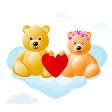 Free Teddy Bears On Cloud Royalty Free Stock Image - 21162306