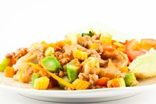 Free Stir Fried Noodle With Chicken Stock Image - 21162701