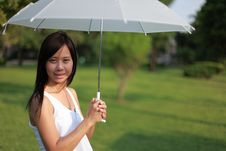Women And White Umbrella Royalty Free Stock Images