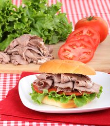 Roast Beef, Lettuce And Tomato Royalty Free Stock Photo