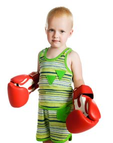 Free Little Boy In Red Boxing Gloves Stock Images - 21163614