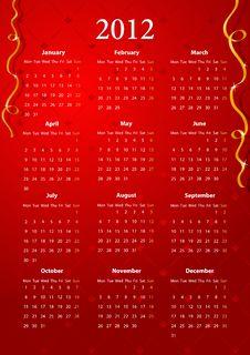 Vector Red Calendar 2012 Stock Photography