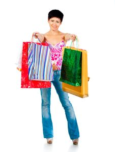 Free Beautiful Girl With Shoping Bsgs Stock Image - 21163871