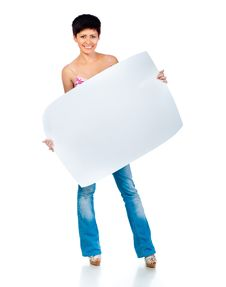 Free Beautiful Woman Holding A Blank Stock Photography - 21163872