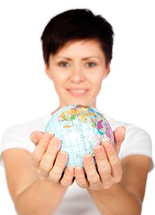 Free Girl With Globe Stock Image - 21163891