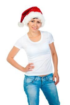 Free Girl In A White T-shirt And Hat Of Santa Stock Photography - 21163932