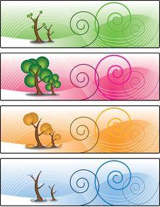 Free Four Season Trees Banner Stock Image - 21164001