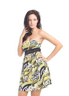 Beautiful Young Lady Posing In Yellow Dress Stock Photography