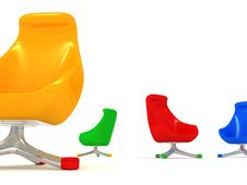 Free Modern Colorized Chairs On White Stock Images - 21166474