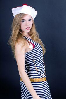 Girl Wearing Sailor Dress Stock Photo