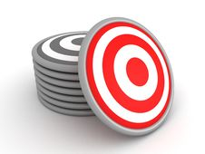 Free Set Of Grey Targets And One Red Target Royalty Free Stock Photos - 21167588