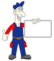 Man Worker With Blank Board Royalty Free Stock Photography
