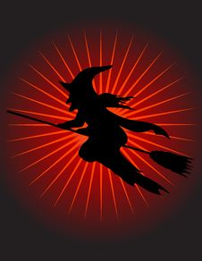 Free Witch Flying On Her Broom! Vector / Eps8 / Clip Ar Royalty Free Stock Photos - 21169418