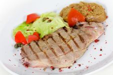 Free Pork Chop, Grilled ,with Salad,bun And Tomato Royalty Free Stock Photos - 21169478