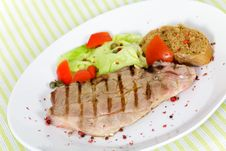 Free Pork Chop, Grilled ,with Salad,bun And Tomato Stock Image - 21169481