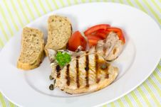 Free Pork Chop, Grilled ,with Salad,bun And Tomato Stock Images - 21169494