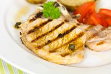 Free Pork Chop, Grilled ,with Salad,bun And Tomato Royalty Free Stock Photography - 21169497