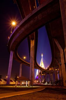 Free Under Bhumibol Bridge Royalty Free Stock Image - 21169646
