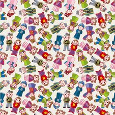 Free Cartoon Chinese People Seamlese Pattern Stock Photography - 21169992