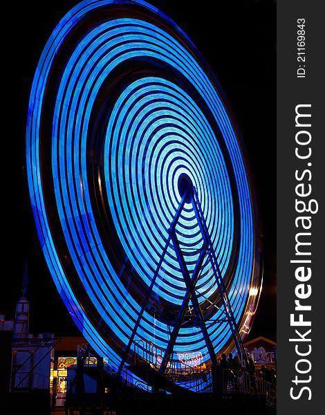 Ferris Wheel Electric Blue Color at Night