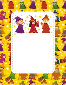 Free Cartoon Wizard And Witch Card Stock Photos - 21170013