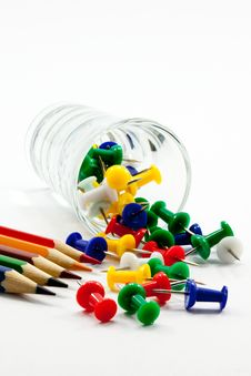 Free Push Pin And Multicolored Pencils Stock Photo - 21170090