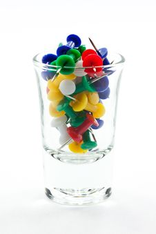 Push Pin In A Glass Stock Image