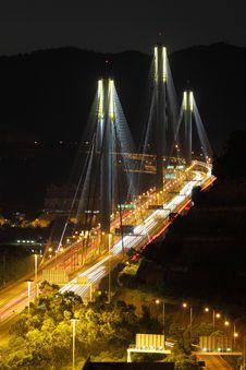 Free Ting Kau Bridge At Night Royalty Free Stock Photography - 21171407
