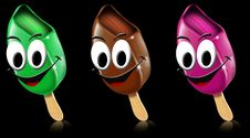Cartoon Colored Ice Creams With Smile Stock Photography