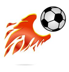 Sport Fly And Fire Football Ball Sign Stock Photos