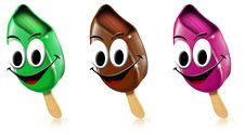 Free Cartoon Colored Ice Creams With Smile Royalty Free Stock Image - 21172196