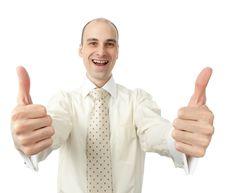 Free Businessman Gesturing Thumbs Up Stock Photo - 21173380