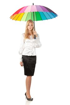 Business Woman Under Umbrella Stock Photos