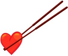 Free Chopstick With Heart Stock Photography - 21175232