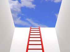 Ladder Leading Up To The Sky Royalty Free Stock Photos