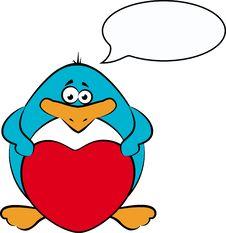 Free Cartoon Penguin With Heart Stock Photo - 21176080