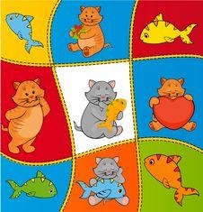 Free Cartoon Little Kitten With Fish Royalty Free Stock Image - 21176186