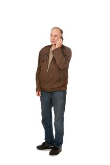 Man S Speaking By Phone Royalty Free Stock Photo