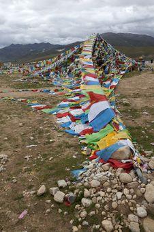 Free Tibetan Five-Color Flag Royalty Free Stock Photos - 21176868